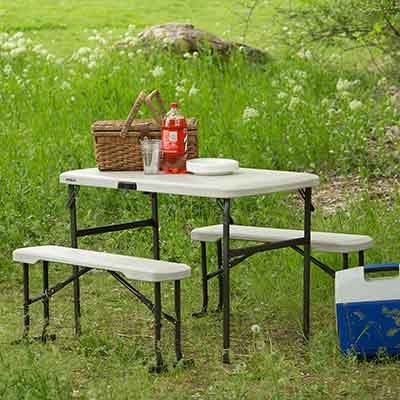 Lifetime Portable Folding Picnic Camp Table Chair Bench Set Durable Lightweight