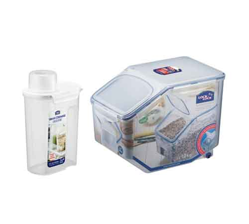 Lock u0026 Lock is a professional supplier of kitchen utensils to think about life and environmental health of the consumer products produced using ...  sc 1 st  eBay & Lock u0026 Lock Rice Grain Food Storage Container 2P Cereal Barrel (10Kg ...